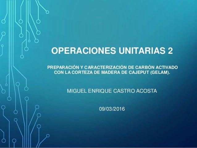 OPERACIONES UNITARIAS 2 PREPARACIÓN Y CARACTERIZACIÓN DE CARBÓN ACTIVADO CON LA CORTEZA DE MADERA DE CAJEPUT (GELAM). MIGU...