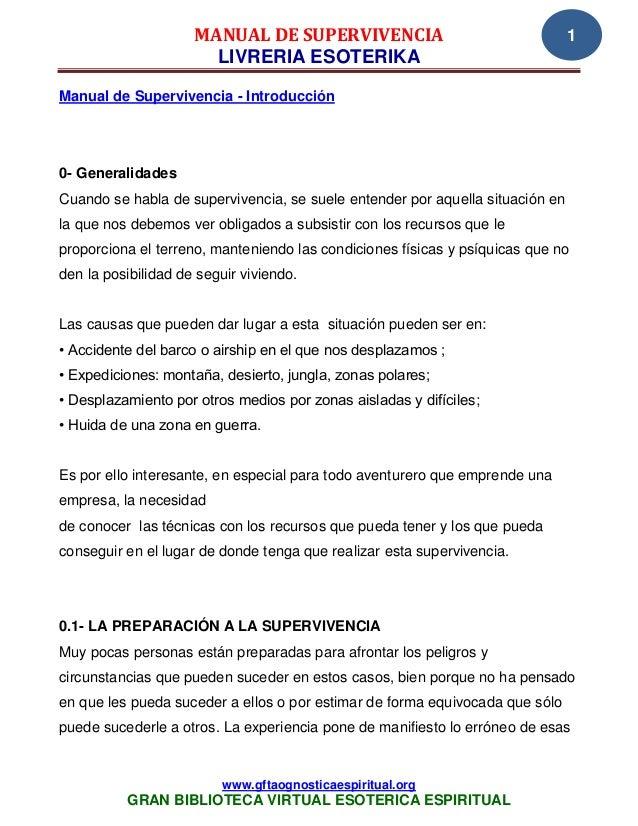 MANUAL DE SUPERVIVENCIA                                   1                       LIVRERIA ESOTERIKAManual de Supervivenci...