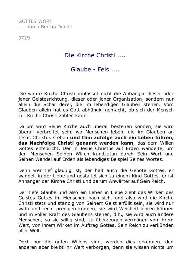 GOTTES WORT ... durch Bertha Dudde 3729 Die Kirche Christi .... Glaube - Fels .... Die wahre Kirche Christi umfasset nicht...