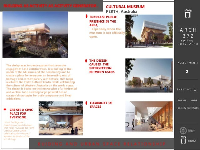 1 BUILDING AS ACTIVITY AS ACITVITY GENERATOR . CULTURAL MUSEUM PERTH, Australıa The design was to create spaces that promo...