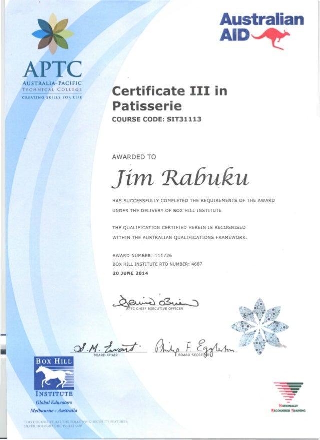 JCR - APTC Certificate