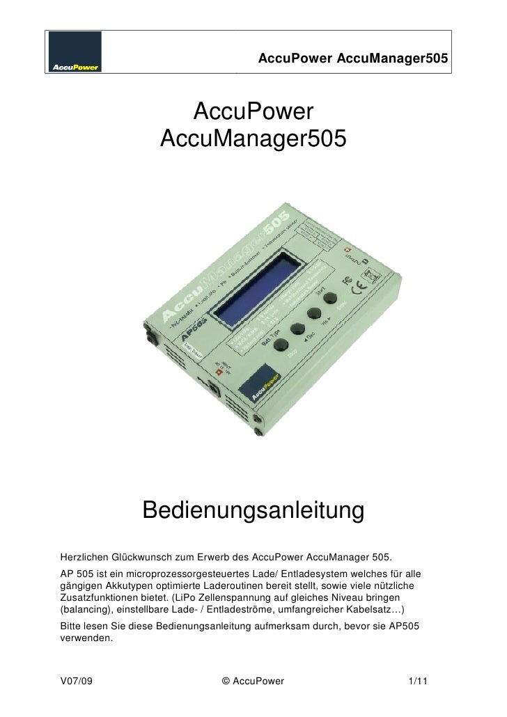 AccuPower AccuManager505                           AccuPower                      AccuManager505                      Bedi...