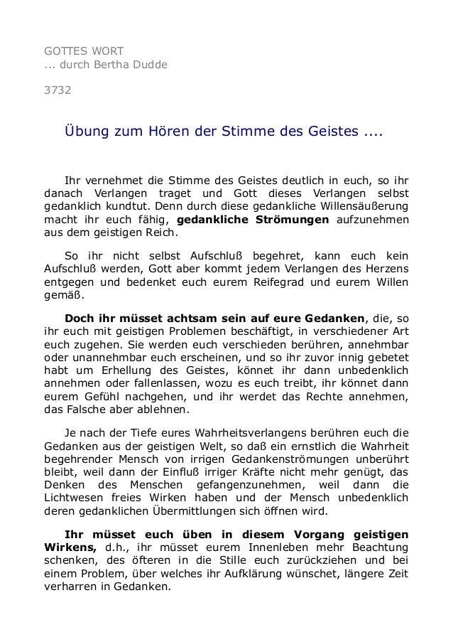 GOTTES WORT ... durch Bertha Dudde 3732 Übung zum Hören der Stimme des Geistes .... Ihr vernehmet die Stimme des Geistes d...