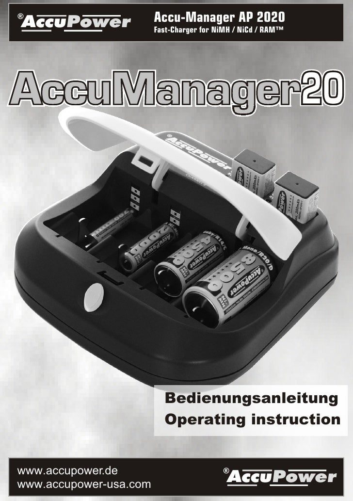 ® AccuPower               Accu-Manager AP 2020                         Fast-Charger for NiMH / NiCd / RAM™                ...