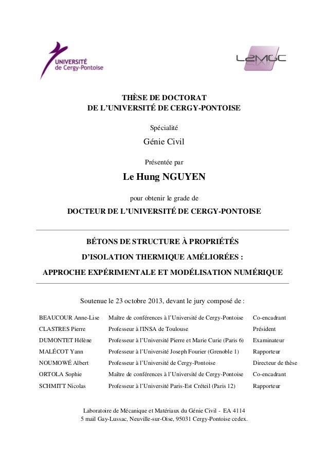 DE L'UNIVERSITÉ DE CERGY DOCTEUR DE L'UNIVERSITÉ DE CERGY BÉTONS DE STRUCTURE À PROPRIÉTÉS D'ISOLATION APPROCHE EXPÉRIMENT...