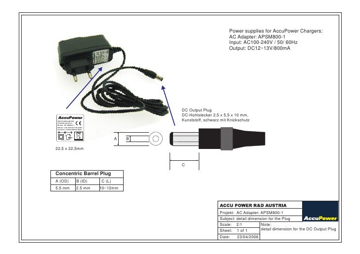 Power supplies for AccuPower Chargers:                                                                           AC Adapte...