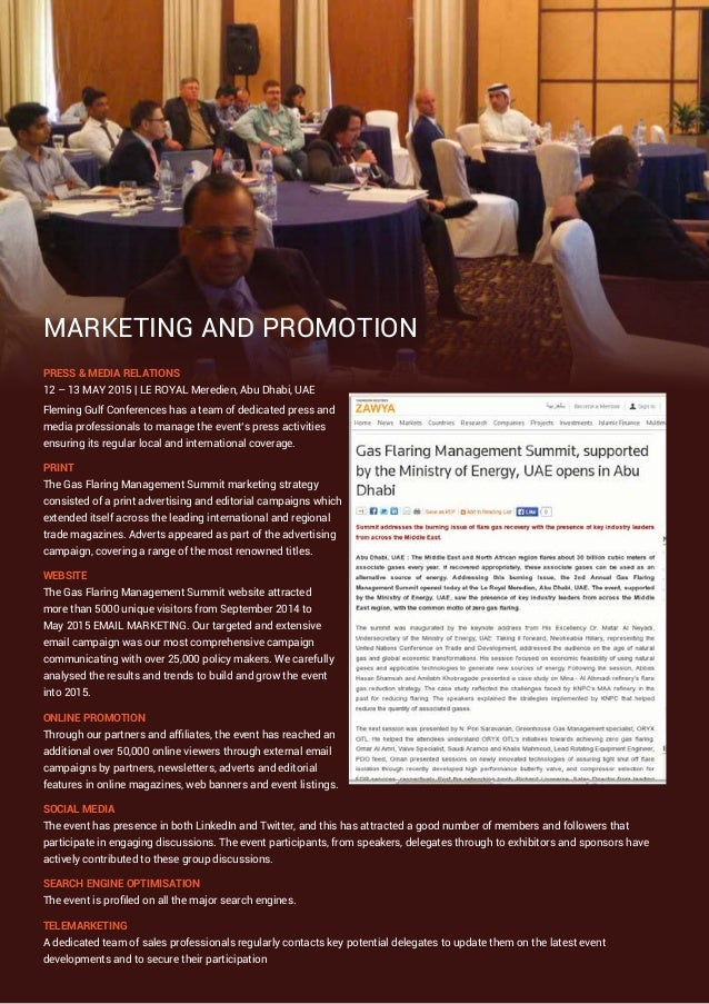 MARKETING AND PROMOTION PRESS & MEDIA RELATIONS 12 – 13 MAY 2015 | LE ROYAL Meredien, Abu Dhabi, UAE Fleming Gulf Conferen...