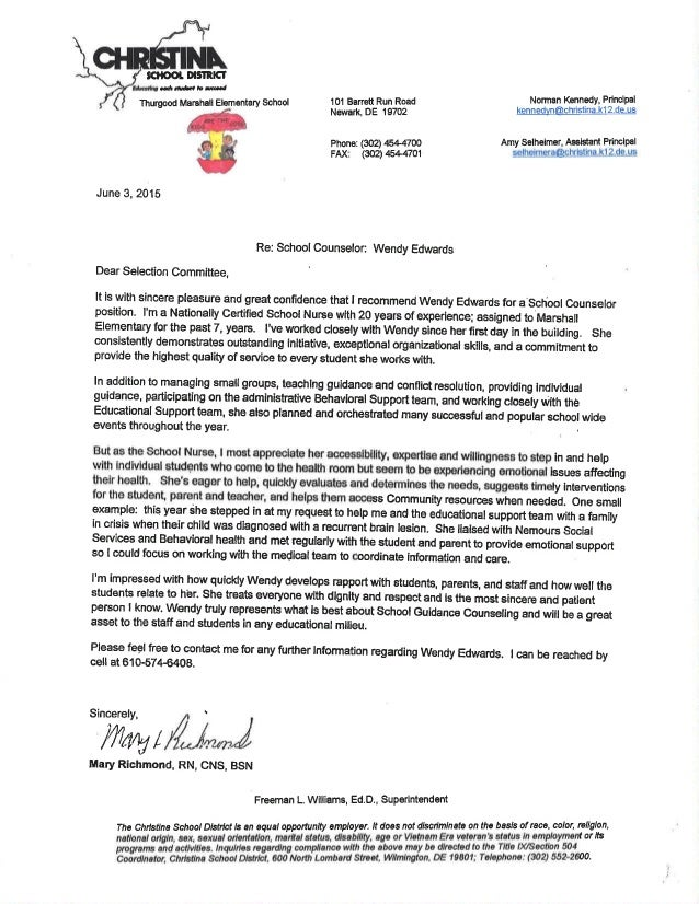 letter of recommendation from nurse for wendy edwards