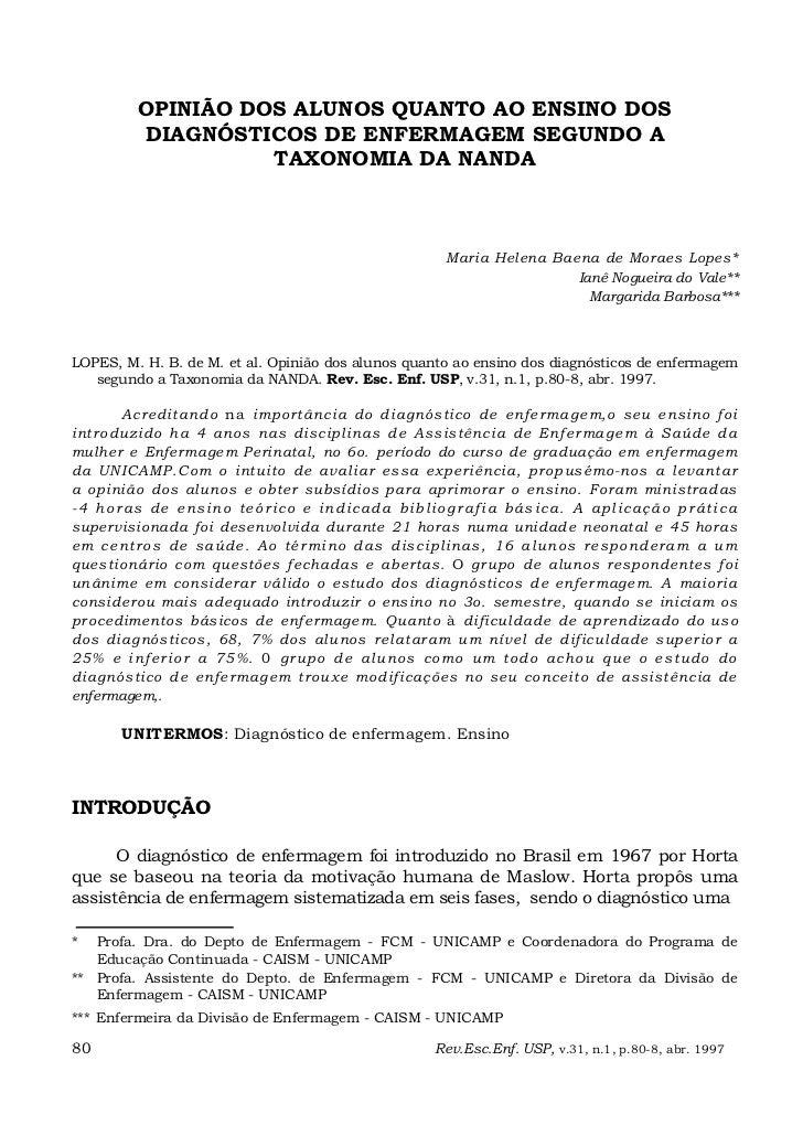 OPINIÃO DOS ALUNOS QUANTO AO ENSINO DOS            DIAGNÓSTICOS DE ENFERMAGEM SEGUNDO A                      TAXONOMIA DA ...
