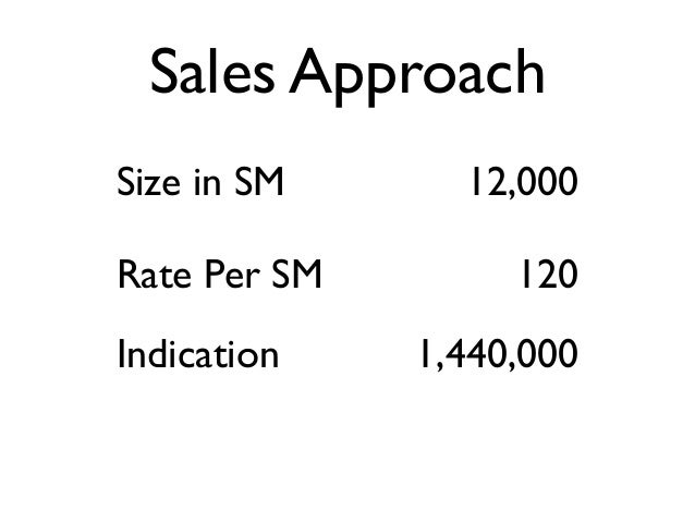 Size in SM 12,000 Rate Per SM 120 Indication 1,440,000 Sales Approach