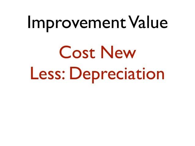 ImprovementValue Cost New Less: Depreciation