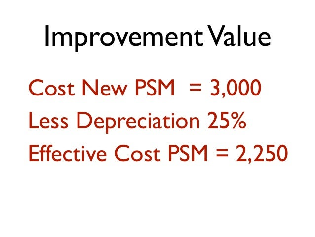 ImprovementValue Cost New PSM = 3,000 Less Depreciation 25% Effective Cost PSM = 2,250