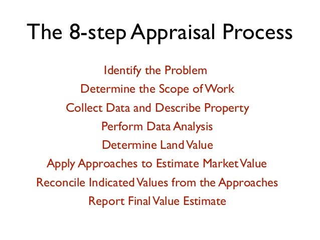 The 8-step Appraisal Process Identify the Problem Determine the Scope of Work Collect Data and Describe Property Perform D...