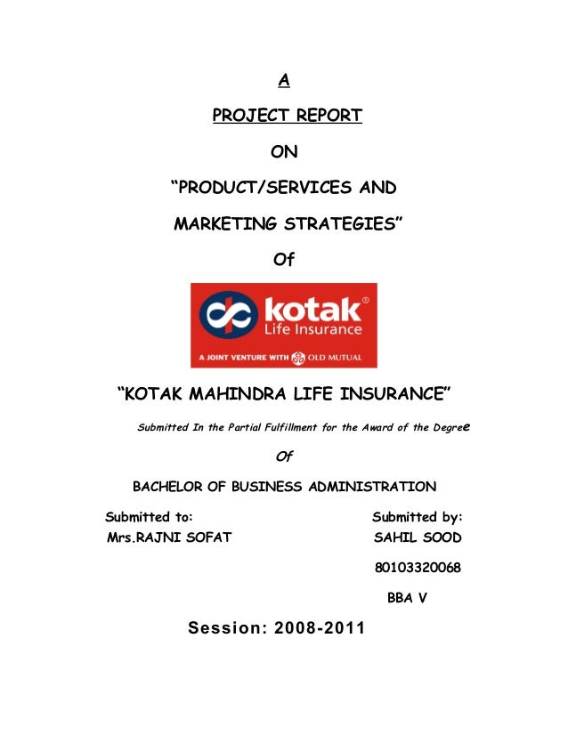 """A                  PROJECT REPORT                             ON          """"PRODUCT/SERVICES AND          MARKETING STRATEG..."""