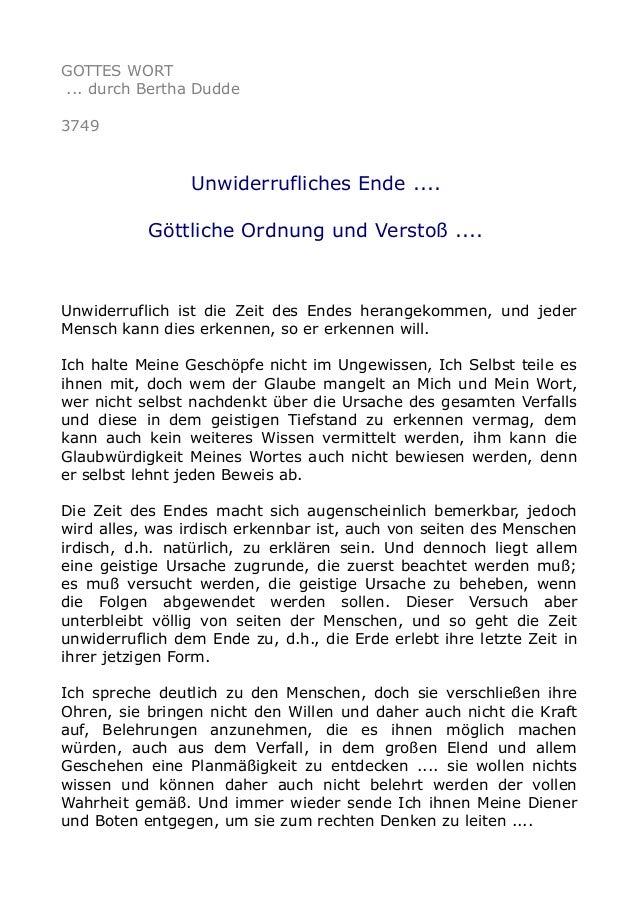 GOTTES WORT ... durch Bertha Dudde 3749 Unwiderrufliches Ende .... Göttliche Ordnung und Verstoß .... Unwiderruflich ist d...