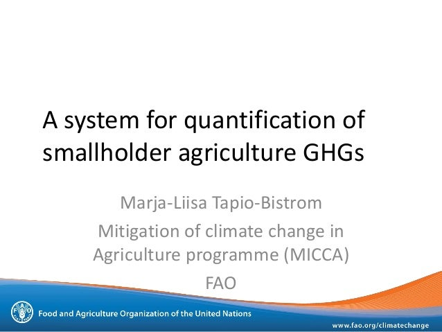 A system for quantification ofsmallholder agriculture GHGsMarja-Liisa Tapio-BistromMitigation of climate change inAgricult...