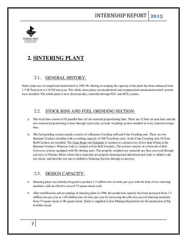 Internship report of in plant training in | College paper Sample