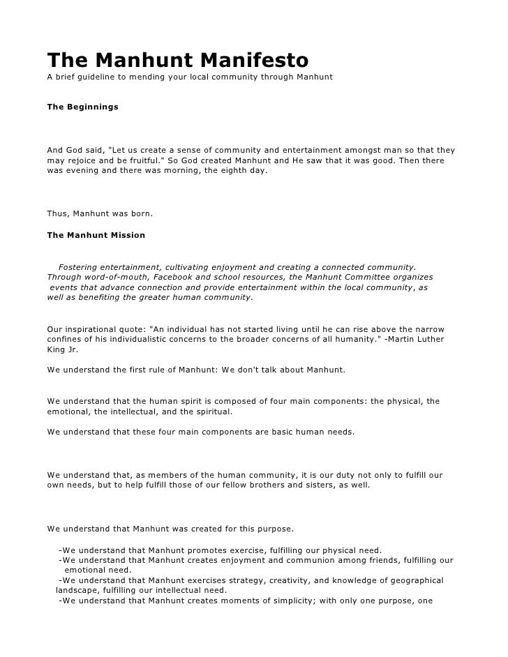 The Manhunt Manifesto A brief guideline to mending your local community through Manhunt   The Beginnings     And God said,...