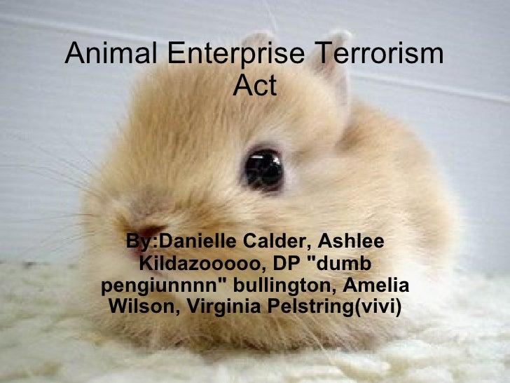 "Animal Enterprise Terrorism Act By:Danielle Calder, Ashlee Kildazooooo, DP ""dumb pengiunnnn"" bullington, Amelia ..."