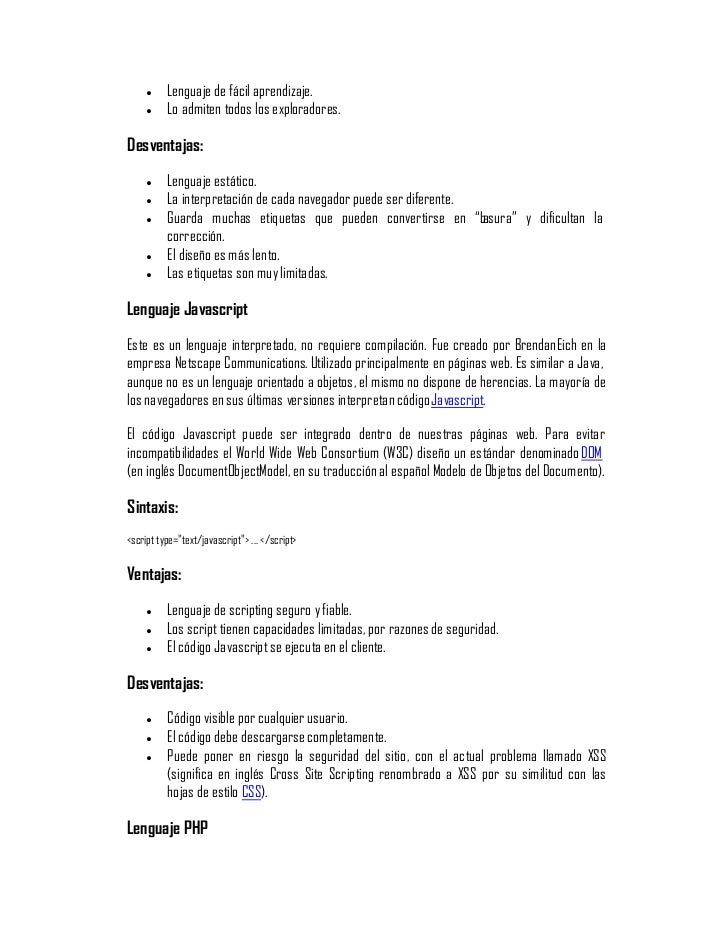 los diferentes lenguajes de programación para-la-web Slide 2