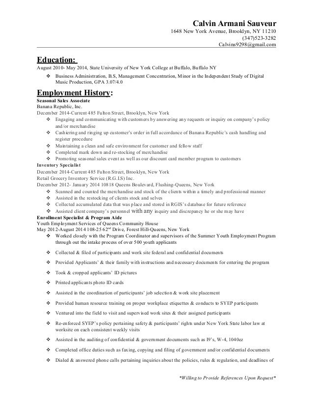 resume of sales associate experience