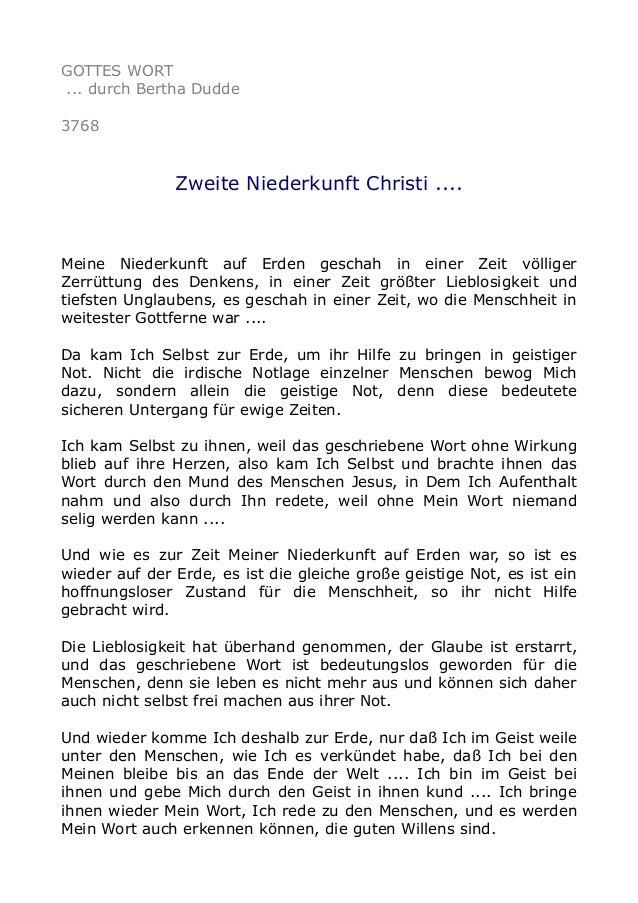 GOTTES WORT ... durch Bertha Dudde 3768 Zweite Niederkunft Christi .... Meine Niederkunft auf Erden geschah in einer Zeit ...