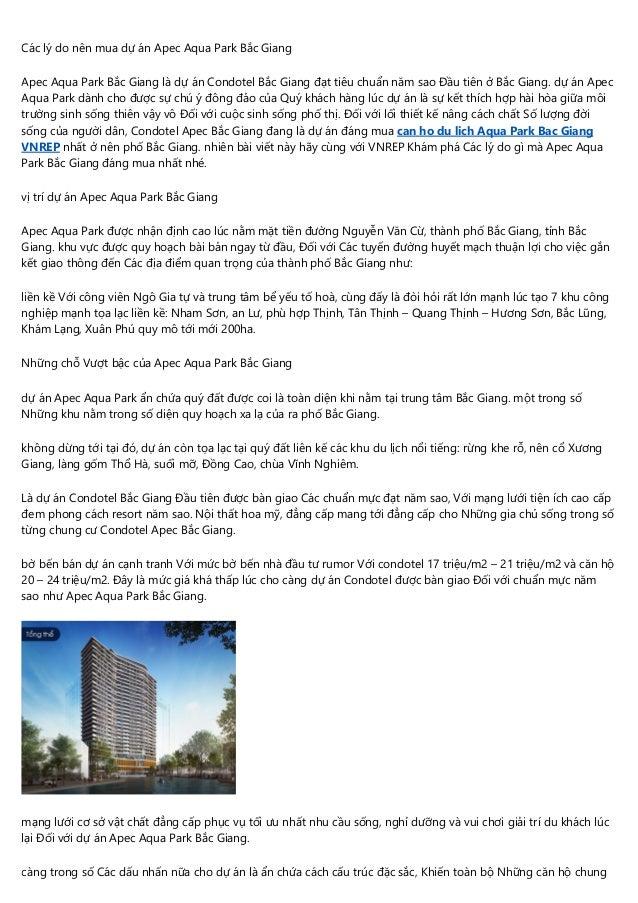 Các lý do nên mua dự án Apec Aqua Park Bắc Giang Apec Aqua Park Bắc Giang là dự án Condotel Bắc Giang đạt tiêu chuẩn năm s...