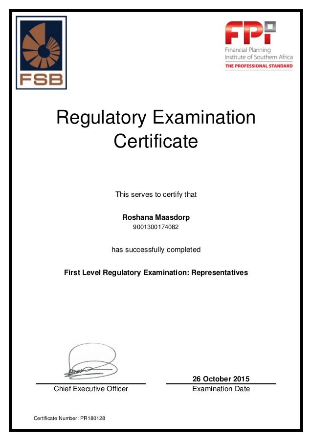 Fpi fpi regulatory examination certificate this serves to certify that roshana maasdorp 9001300174082 has successfully completed f reheart Gallery