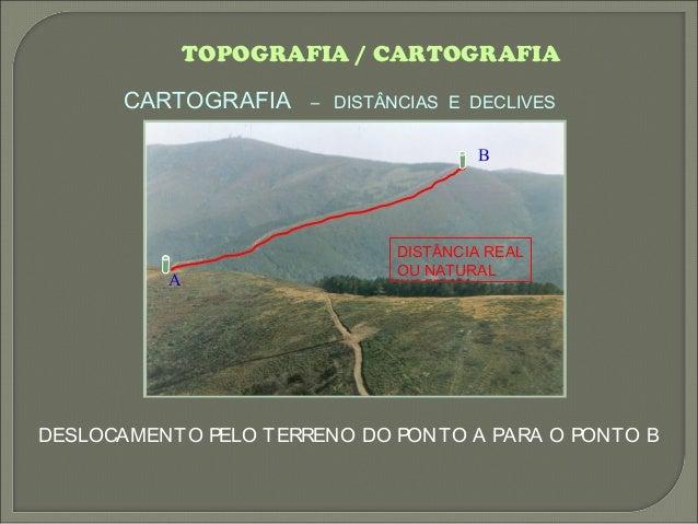 TOPOGRAFIA / CARTOGRAFIA CARTOGRAFIA – DISTÂNCIAS E DECLIVES DISTÂNCIA REAL OU NATURAL DESLOCAMENTO PELO TERRENO DO PONTO ...