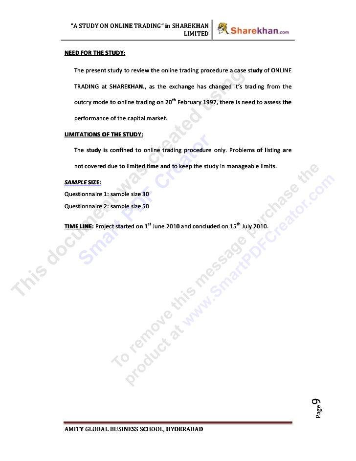 Sample Workshop Evaluation Form Example. 37711902 Project On Online Trading At Sharekhan Ltd  (1
