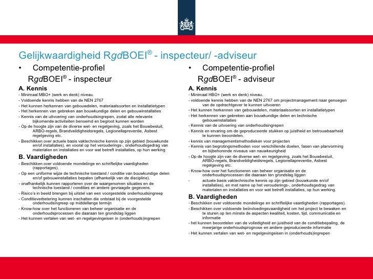 Gelijkwaardigheid RgdBOEI® - inspecteur/ -adviseur •     Competentie-profiel                                              ...