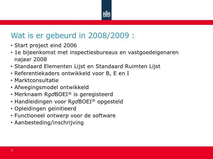 Wat is er gebeurd in 2008/2009 : • Start project eind 2006 • 1e bijeenkomst met inspectiesbureaus en vastgoedeigenaren   n...