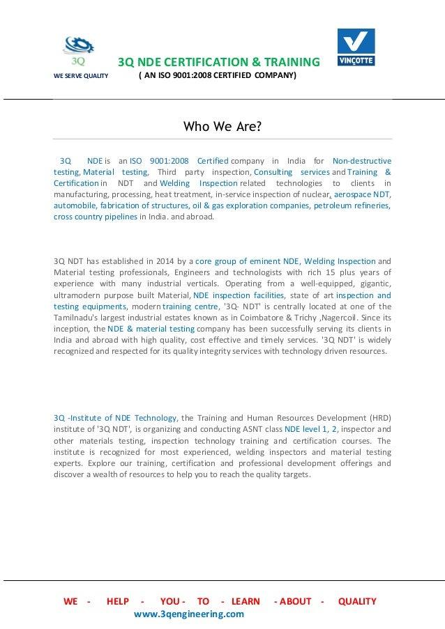 3q Certification Training Profile