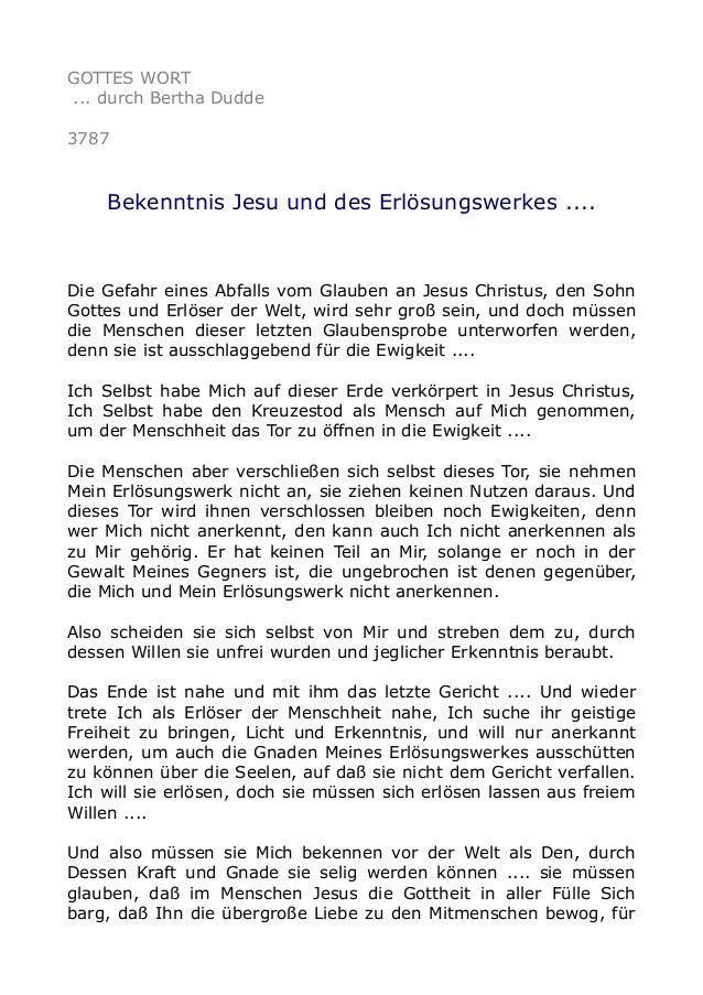 GOTTES WORT ... durch Bertha Dudde 3787 Bekenntnis Jesu und des Erlösungswerkes .... Die Gefahr eines Abfalls vom Glauben ...