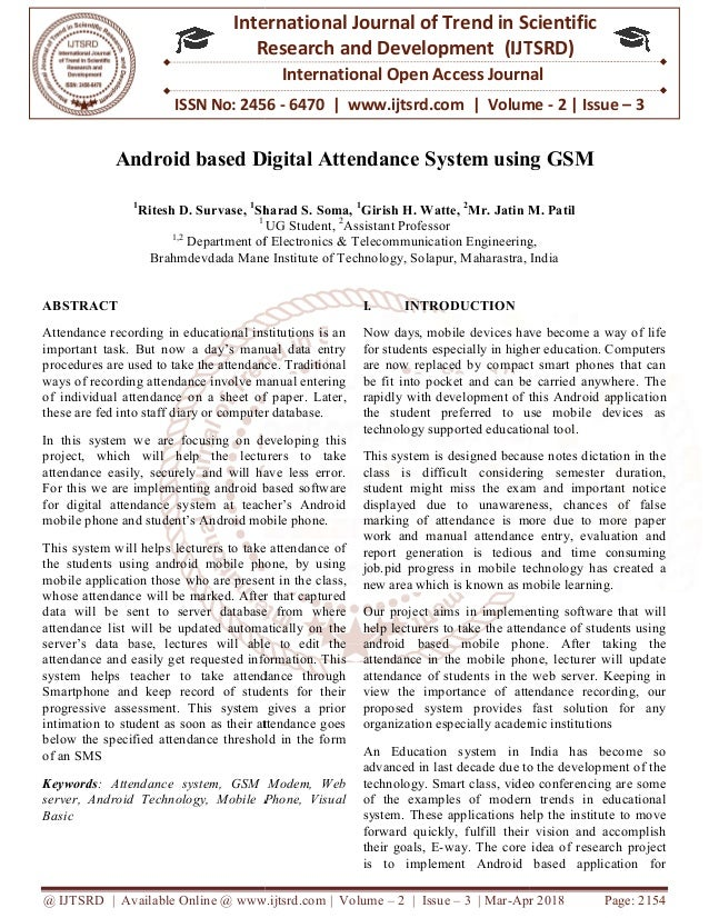Android based Digital Attendance System using GSM
