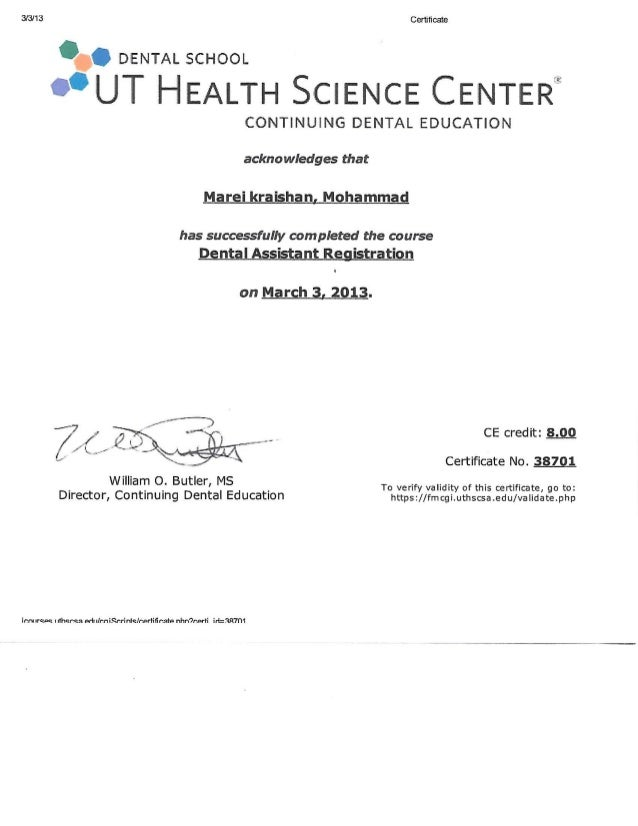 Dental Assistant Registration Certificate(TX)