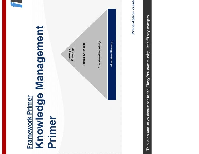 This is an exclusive document to the FlevyPro community - http://flevy.com/pro Framework Primer Knowledge Management Prime...