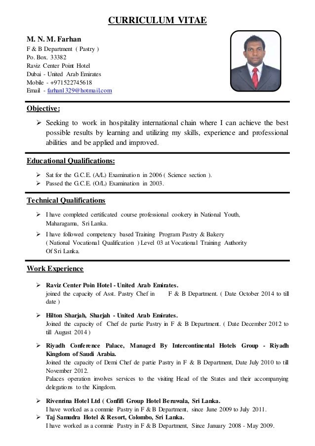 resume for pastry chef