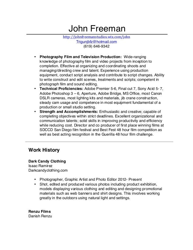 Film Resume John Freeman no personal info