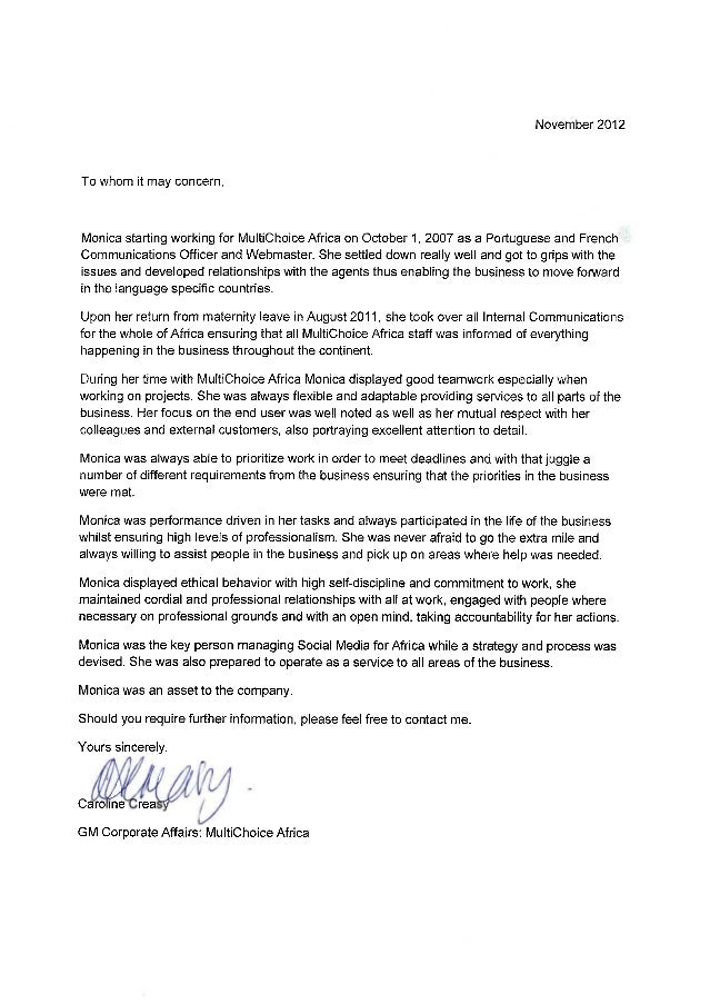 Reference letter 4 to whom it may concern monica starting working for multichoice africa on october i spiritdancerdesigns Images
