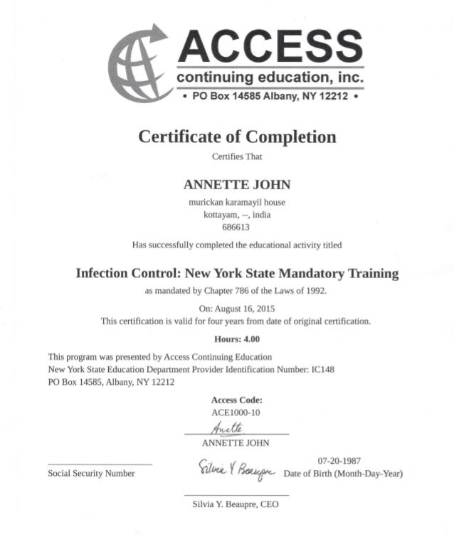 infection control certificate-newyork state training
