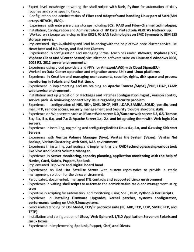 rama linux solaris vmware admin resume