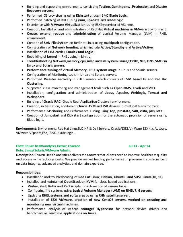 Rama Linux Solaris Vmware Admin Resume   Vmware Resume