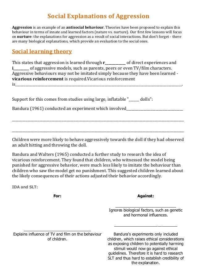Social Explanations of Aggression Aggression is an example of an antisocial behaviour. Theories have been proposed to expl...