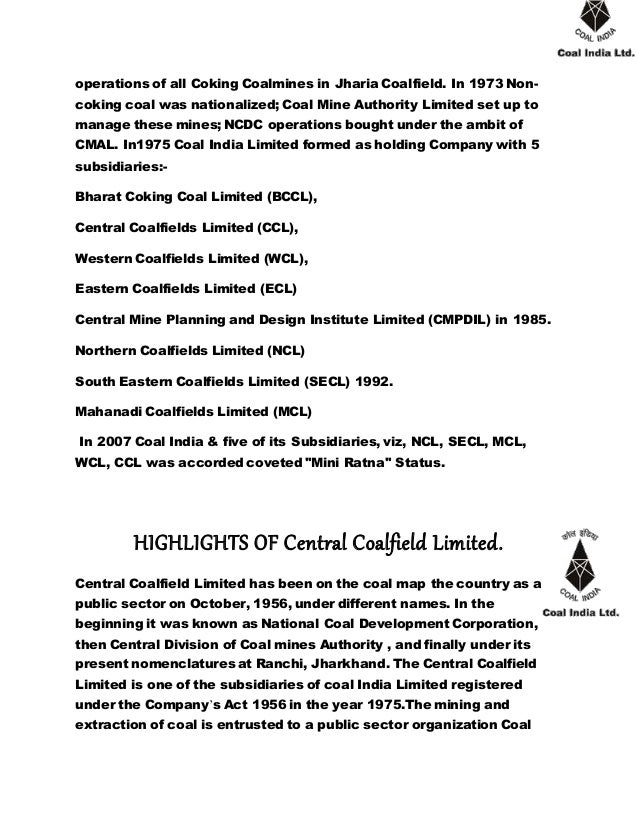 Introduction Of Central Coalfield Limited