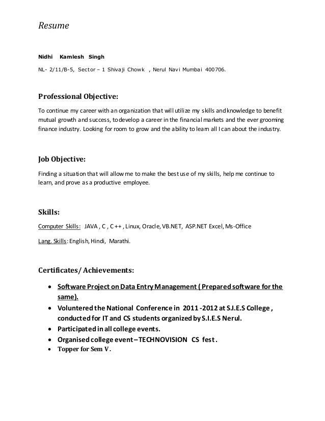 resume nidhi singh