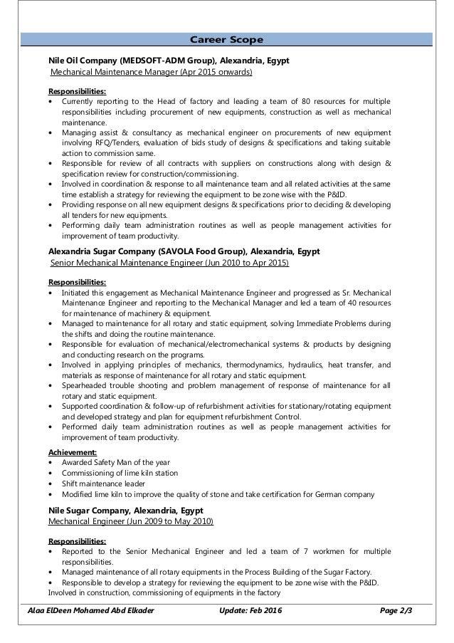 chief maintenance engineer sample resume suiteblounge com