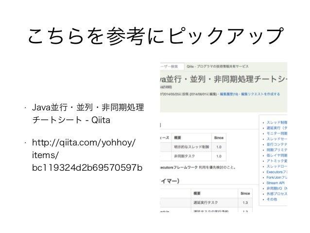 こちらを参考にピックアップ • Java並行・並列・非同期処理 チートシート - Qiita • http://qiita.com/yohhoy/ items/ bc119324d2b69570597b