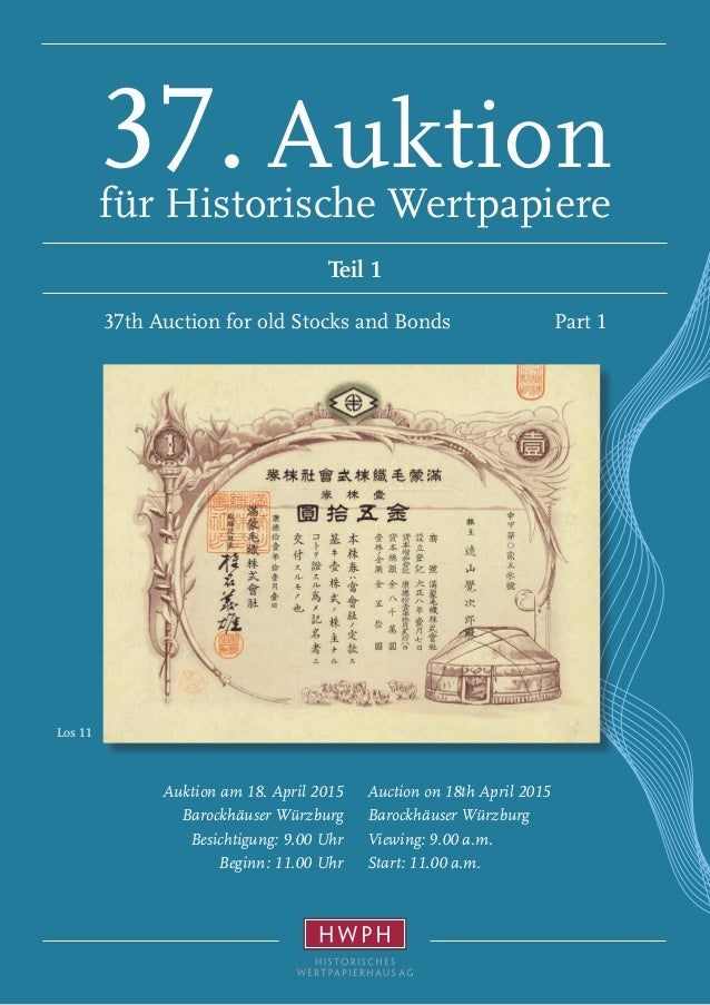 Los 11 Auction on 18th April 2015 Barockhäuser Würzburg Viewing: 9.00 a.m. Start: 11.00 a.m. Auktion am 18. April 2015 Bar...