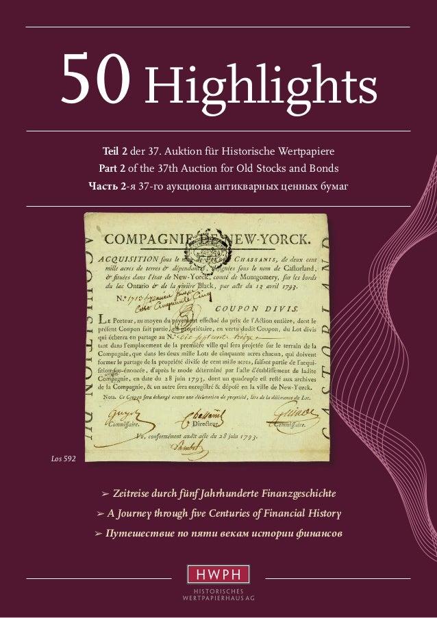 Los 592 50Highlights Teil 2 der 37. Auktion für Historische Wertpapiere Part 2 of the 37th Auction for Old Stocks and Bond...
